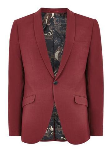 Topman Mens Red Ultra Skinny Fit Suit Jacket