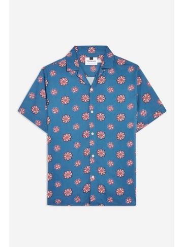 Topman Mens Blue Geometric Pattern Slim Shirt