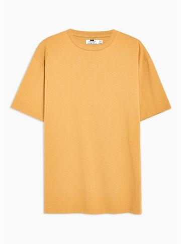 Topman Mens Yellow Mustard Oversized T-shirt