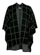 Topman Mens Black Windowpane Check Knitted Cape