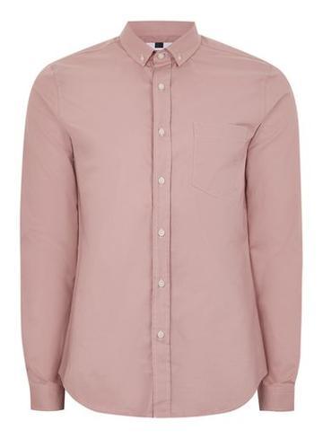 Topman Mens Pink Muscle Fit Oxford Shirt