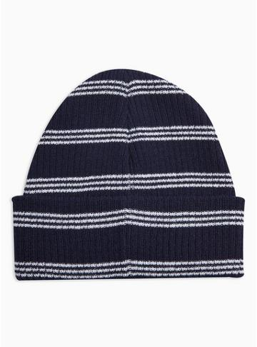 Topman Mens Multi Navy Stripe Beanie