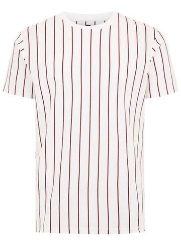 Topman Mens White Striped Crew Neck T-shirt
