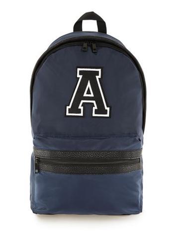 Topman Mens Blue Navy Embroidered Detail Nylon Backpack