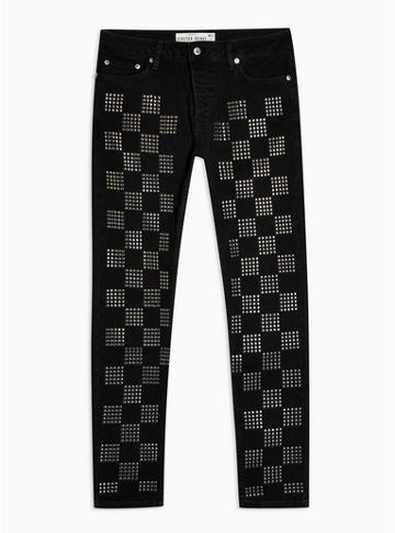 Topman Mens Black Check Studded Skinny Fit Jeans