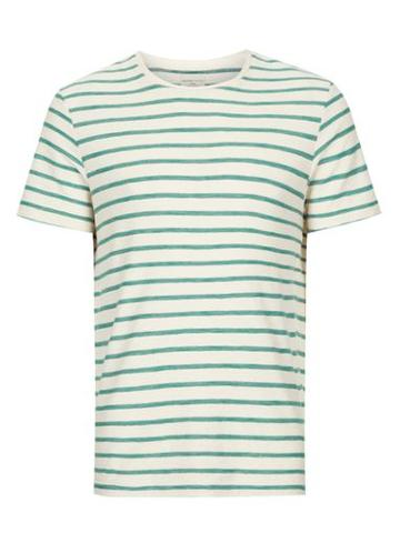 Topman Mens Selected Homme Off White And Green Stripe T-shirt
