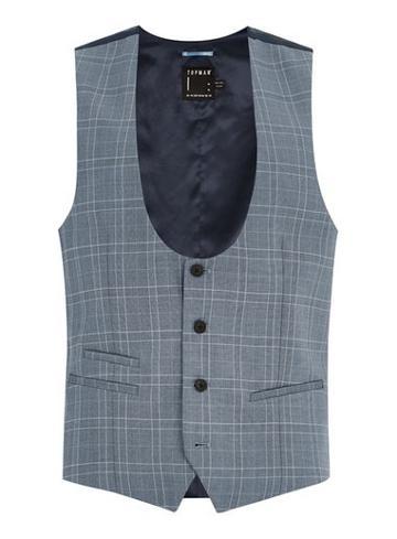 Topman Mens Blue Tonal Check Suit Vest
