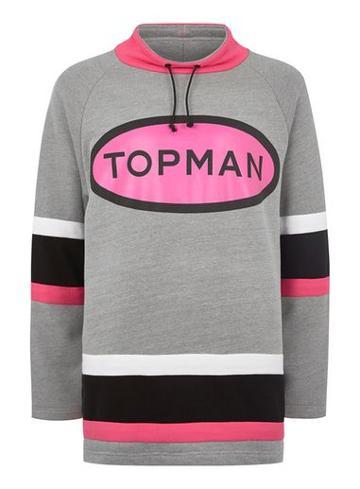 Topman Mens Grey Topman Design Gray Oversized Hoodie