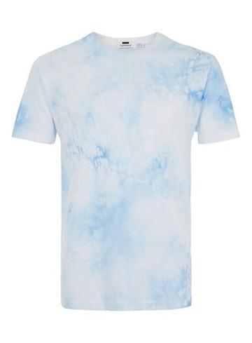 Topman Mens Washed Blue Printed T-shirt