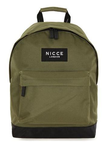 Topman Mens Green Nicce Khaki Backpack
