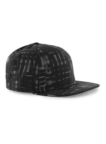 Topman Mens Black Abstract Grid Snapback Cap
