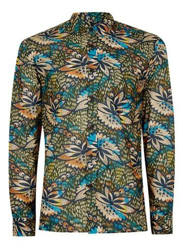 Topman Mens Multi Floral Pattern Drape Fabric Shirt