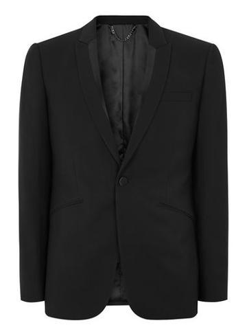 Topman Mens Black Textured Skinny Tux Jacket