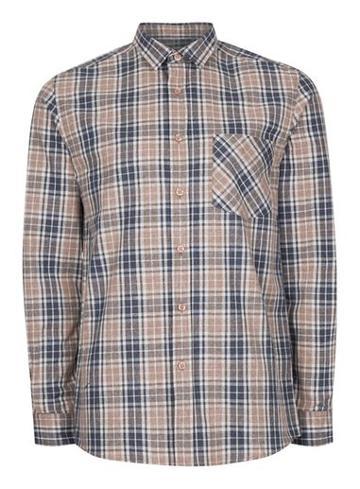 Topman Mens Brown Stone And Navy Check Casual Shirt