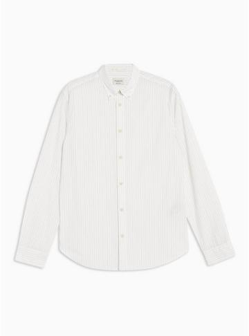 Selected Homme Mens Cream Selected Homme Stripe Shirt