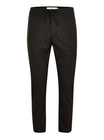 Topman Mens Dark Grey Check Skinny Trousers