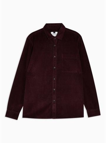Topman Mens Red Burgundy One Pocket Corduroy Slim Shirt