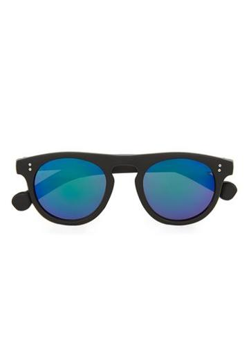 Topman Mens Black Flat Top Rounded Sunglasses