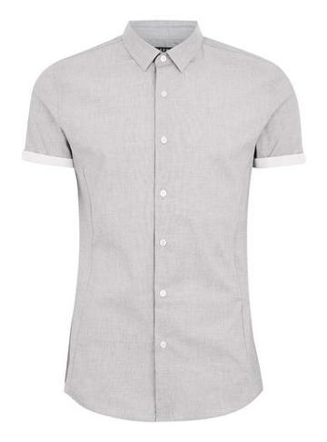 Topman Mens Grey Stretch Short Sleeve Shirt
