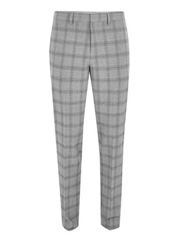 Topman Mens Black And White Check Neppy Muscle Fit Suit Pants