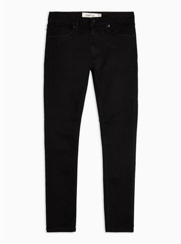 Topman Mens Black Spray On Jeans With Chain