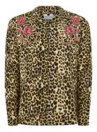Topman Mens Yellow Leopard Print Embroidered Shirt