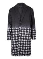 Topman Mens Blue Rogues Of London Black And Jumbo Dogstooth Overcoat
