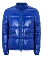 Topman Mens Blue High Shine Puffer Jacket