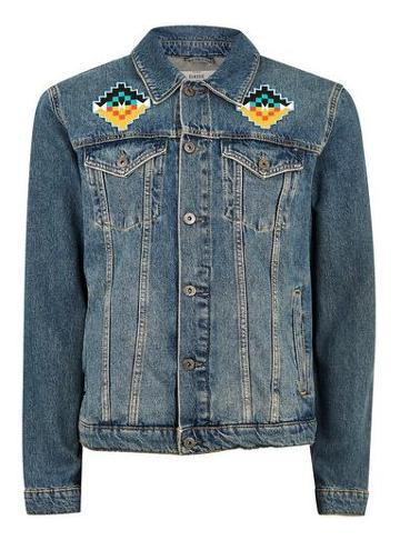 Topman Mens Blue Mid Wash Embroidered Denim Jacket