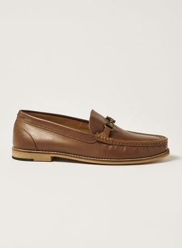 Topman Mens Brown Tan Leather 'averly' Snaffle Loafers