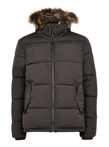Topman Mens Grey Hooded Puffer Jacket