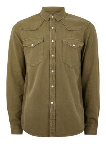Topman Mens Khaki Twill Western Shirt