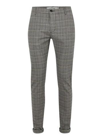 Topman Mens Grey Gray And Blue Check Skinny Pants