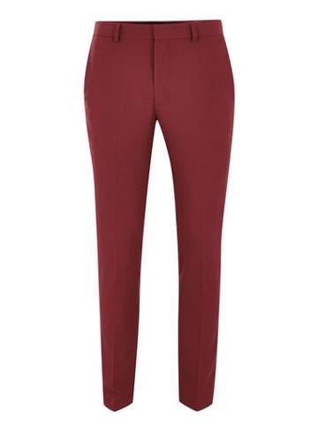Topman Mens Red Ultra Skinny Suit Pants