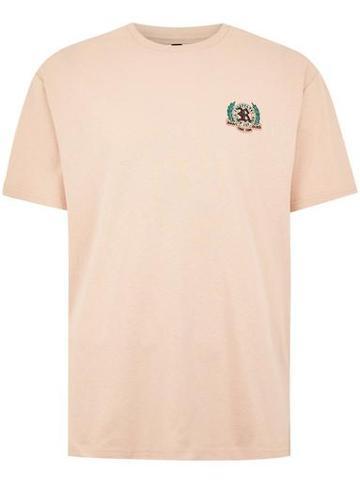 Topman Mens Orange Embroidered Oversized T-shirt