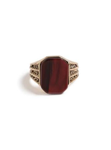 Topman Mens Red Gold Stone Ring*