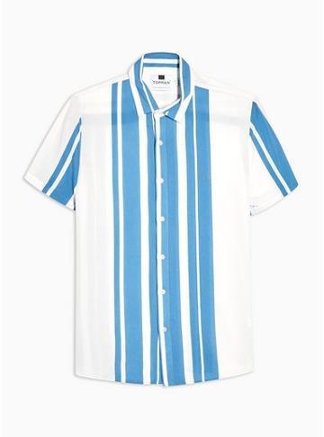 Topman Mens Short Sleeve Blue Stripe Shirt