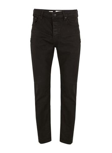 Topman Mens Black Coated Straight Jeans