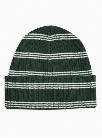 Topman Mens Multi Forest Green Stripe Beanie
