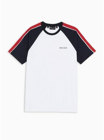 Nicce Mens White Nicce Navy And Red Boundary Panel T-shirt