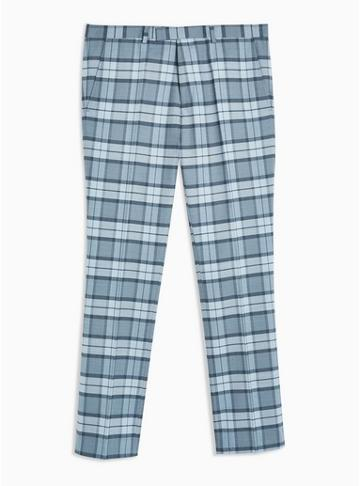 Twisted Tailor Mens Twisted Tailor Light Blue 'ginger' Check Pants