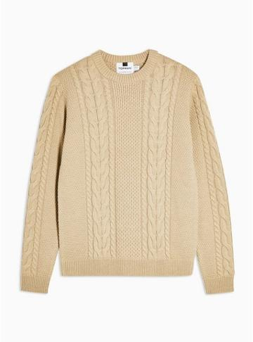 Topman Mens Beige Stone Cable Knit Sweater With Wool