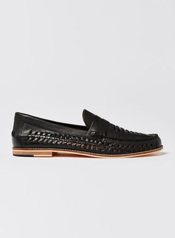 Topman Mens Black Leather Weave Mantis Loafers