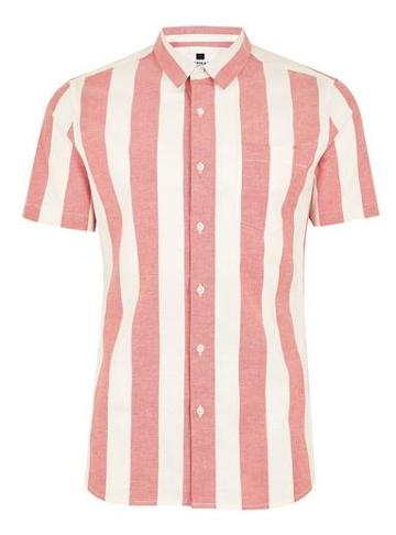Topman Mens Red And White Muscle Stripe Short Sleeve Shirt