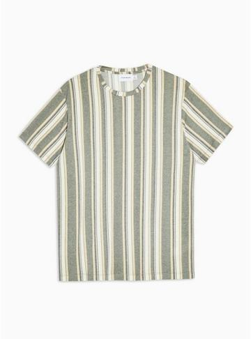 Topman Mens Khaki Stripe Knitted T-shirt