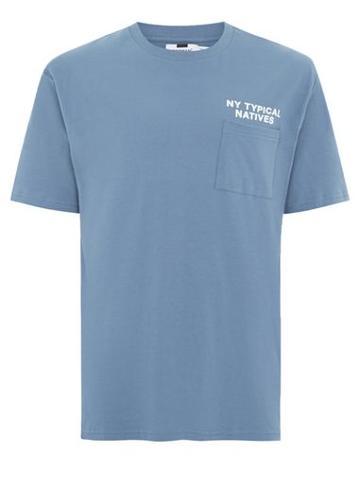 Topman Mens Blue New York Native Slogan T-shirt