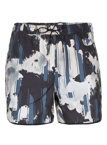 Topman Mens Black Floral Runner Shorts