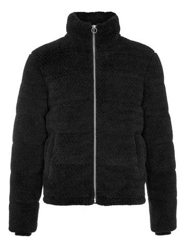 Topman Mens Black Faux Fur Puffer Jacket