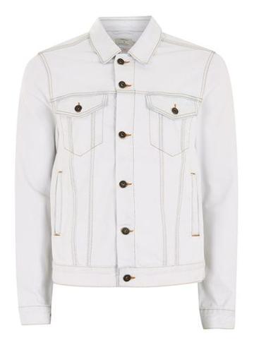 Topman Mens White Bleach Wash Denim Jacket