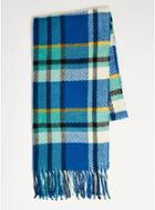Topman Mens Bright Blue Check Scarf